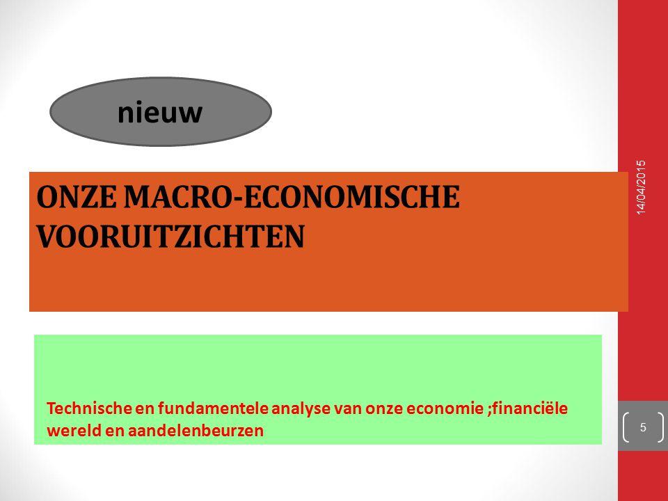 ONZE MACRO-ECONOMISCHE VOORUITZICHTEN Technische en fundamentele analyse van onze economie ;financiële wereld en aandelenbeurzen 14/04/2015 5 nieuw