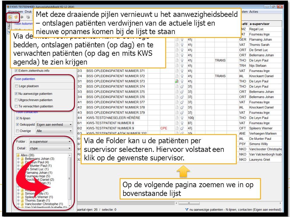 KWS: WERKLIJSTEN: AANWEZIGHEIDSBEELD (2) 11 Via de filter Toon patiënten kan u ook lege bedden, ontslagen patiënten (op dag) en te verwachten patiënte