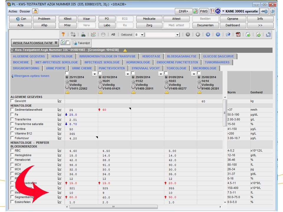 """20 KWS: werklijsten/ aanwezigheidsbeeld (Acties laboresultaten) Zorg dat het vinkje vóór """"Toon materiaal naast de waarde"""" uit is Via """"Selecteer testen"""