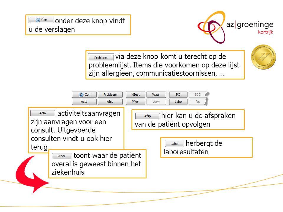 KWS patiëntdossier/ lint (2) via deze knop komt u terecht op de probleemlijst. Items die voorkomen op deze lijst zijn allergieën, communicatiestoornis
