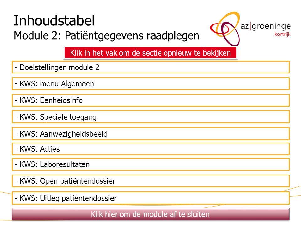 29 Inhoudstabel Module 2: Patiëntgegevens raadplegen - Doelstellingen module 2 - KWS: menu Algemeen - KWS: Eenheidsinfo - KWS: Speciale toegang - KWS: