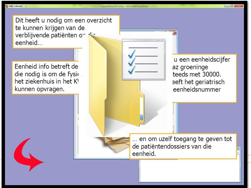 KWS patiëntdossier/ lint (1) Het lint in het patiëntendossier bevat verschillende knoppen Door met de cursor boven de knop stil de staan, verschijnt een tool tip De blauwe kleur van de knop toont aan dat men zich in dit deel van het dossier bevindt