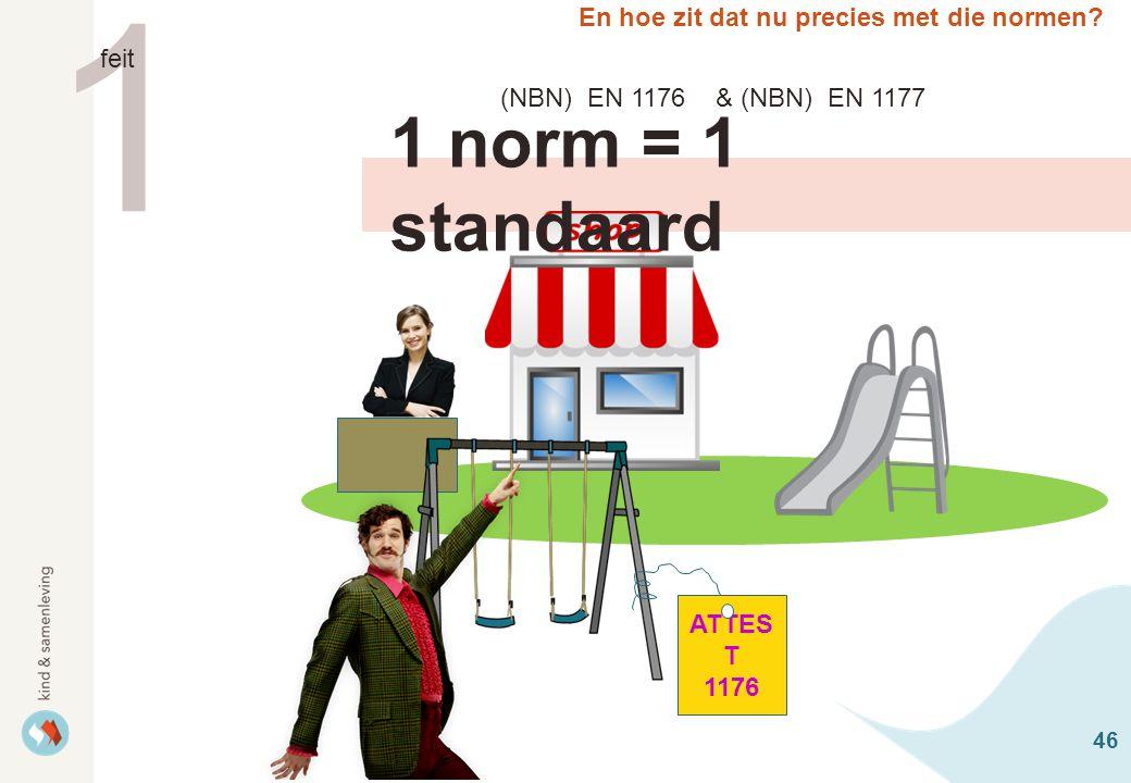 46 En hoe zit dat nu precies met die normen? 1 norm = 1 standaard 1 feit ATTES T 1176 (NBN) EN 1176 & (NBN) EN 1177