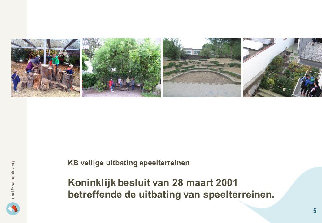 5 KB veilige uitbating speelterreinen Koninklijk besluit van 28 maart 2001 betreffende de uitbating van speelterreinen.