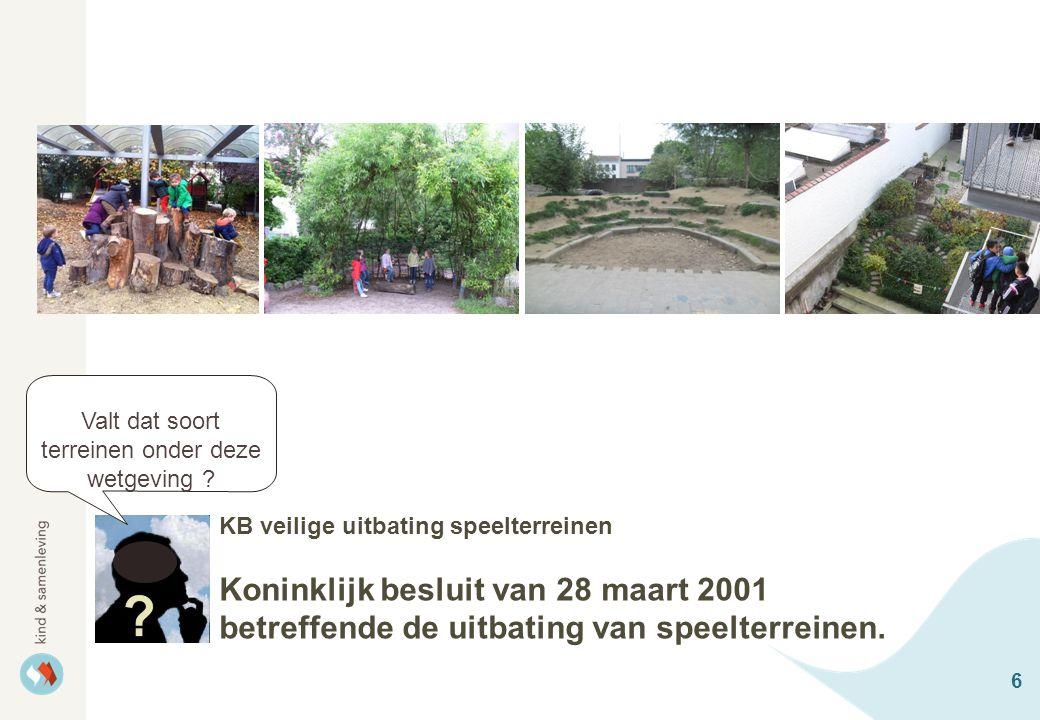 6 KB veilige uitbating speelterreinen Koninklijk besluit van 28 maart 2001 betreffende de uitbating van speelterreinen. Valt dat soort terreinen onder