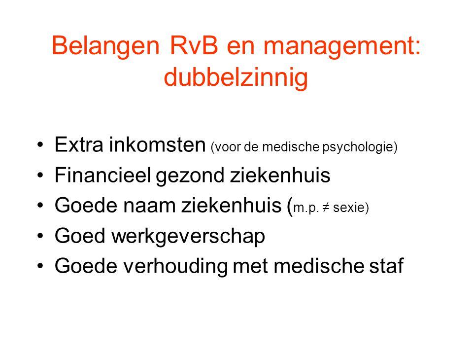 Belangen RvB en management: dubbelzinnig Extra inkomsten (voor de medische psychologie) Financieel gezond ziekenhuis Goede naam ziekenhuis ( m.p. ≠ se