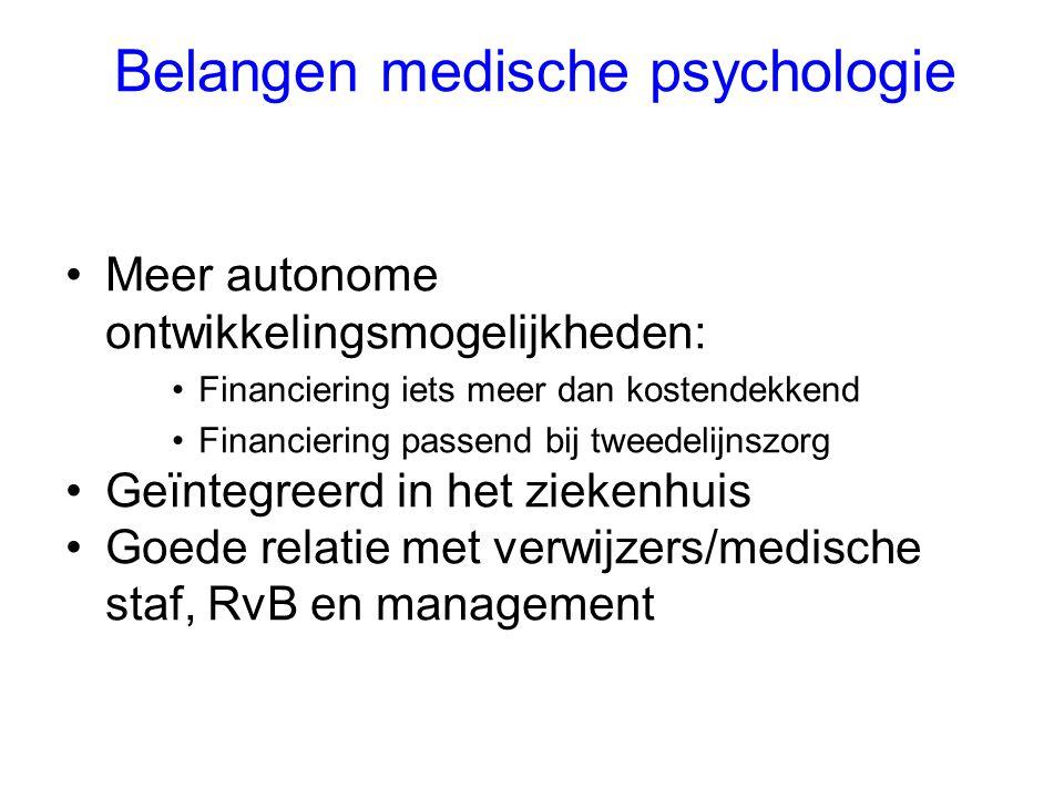 Belangen medische psychologie Meer autonome ontwikkelingsmogelijkheden: Financiering iets meer dan kostendekkend Financiering passend bij tweedelijnsz