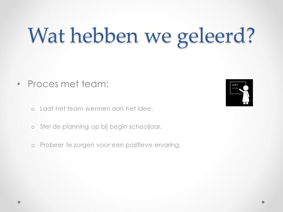 Wat hebben we geleerd? Proces met team: o Laat het team wennen aan het idee. o Stel de planning op bij begin schooljaar. o Probeer te zorgen voor een