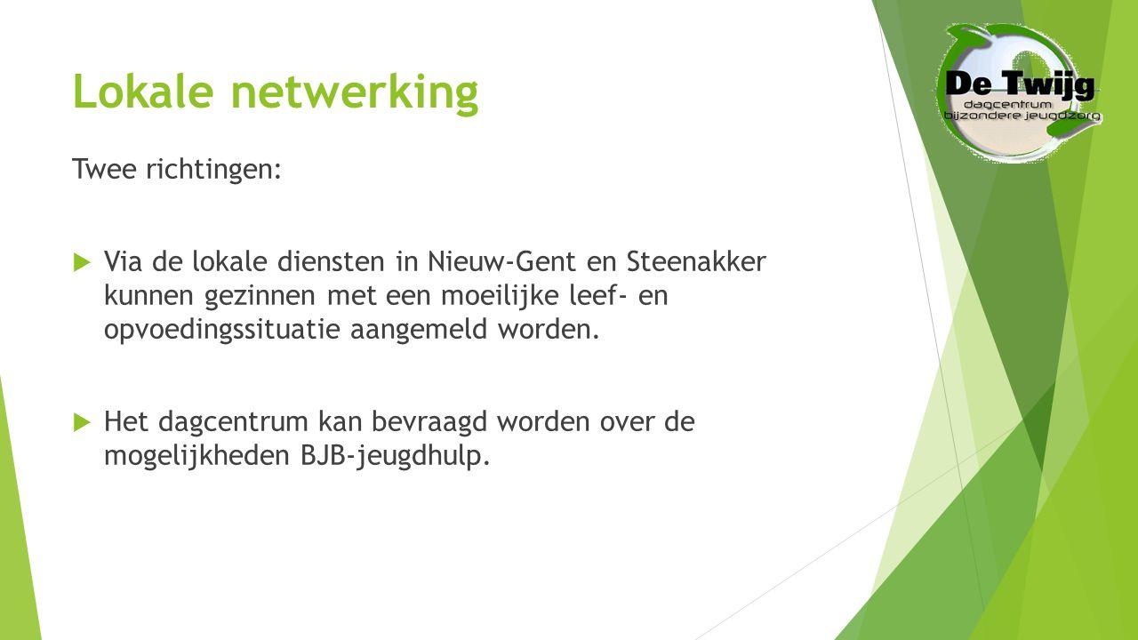 Lokale netwerking Twee richtingen:  Via de lokale diensten in Nieuw-Gent en Steenakker kunnen gezinnen met een moeilijke leef- en opvoedingssituatie aangemeld worden.