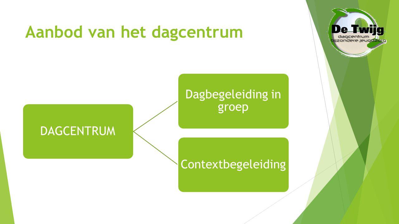 De 4 pijlers van het dagcentrum  Dagbegeleiding  Contextbegeleiding  Individuele begeleiding  Schoolse opvolging