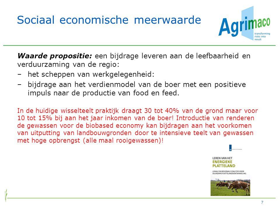 Sociaal economische meerwaarde Waarde propositie: een bijdrage leveren aan de leefbaarheid en verduurzaming van de regio: –het scheppen van werkgelegenheid: –bijdrage aan het verdienmodel van de boer met een positieve impuls naar de productie van food en feed.