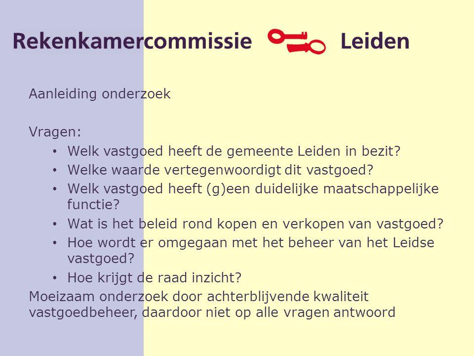 Aanleiding onderzoek Vragen: Welk vastgoed heeft de gemeente Leiden in bezit.