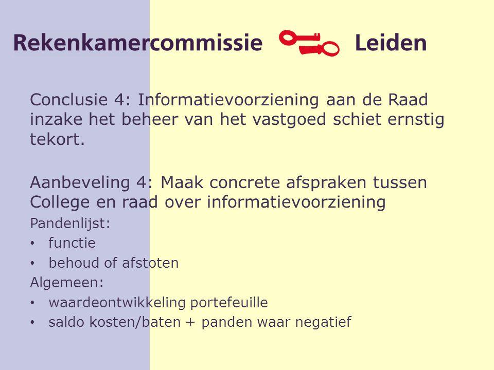 Conclusie 4: Informatievoorziening aan de Raad inzake het beheer van het vastgoed schiet ernstig tekort.