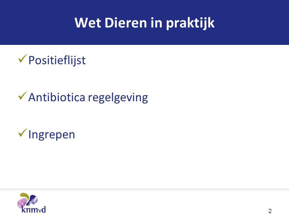 Wet Dieren in praktijk Positieflijst Antibiotica regelgeving Ingrepen 2