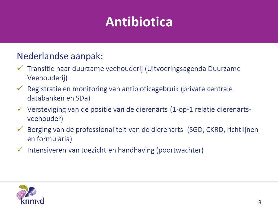 Antibiotica Nederlandse aanpak: Transitie naar duurzame veehouderij (Uitvoeringsagenda Duurzame Veehouderij) Registratie en monitoring van antibiotica