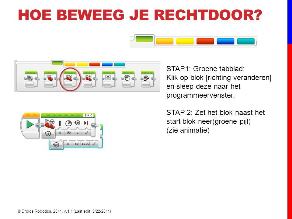 STAP1: Groene tabblad: Klik op blok [richting veranderen] en sleep deze naar het programmeervenster. STAP 2: Zet het blok naast het start blok neer(gr