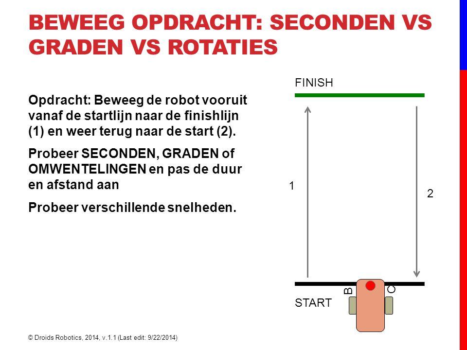 BEWEEG OPDRACHT: SECONDEN VS GRADEN VS ROTATIES Opdracht: Beweeg de robot vooruit vanaf de startlijn naar de finishlijn (1) en weer terug naar de star
