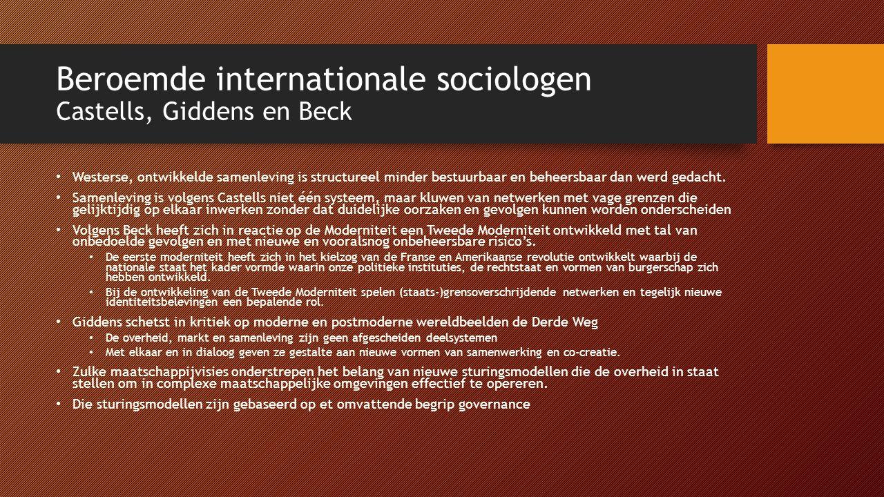 Beroemde internationale sociologen Castells, Giddens en Beck Westerse, ontwikkelde samenleving is structureel minder bestuurbaar en beheersbaar dan werd gedacht.