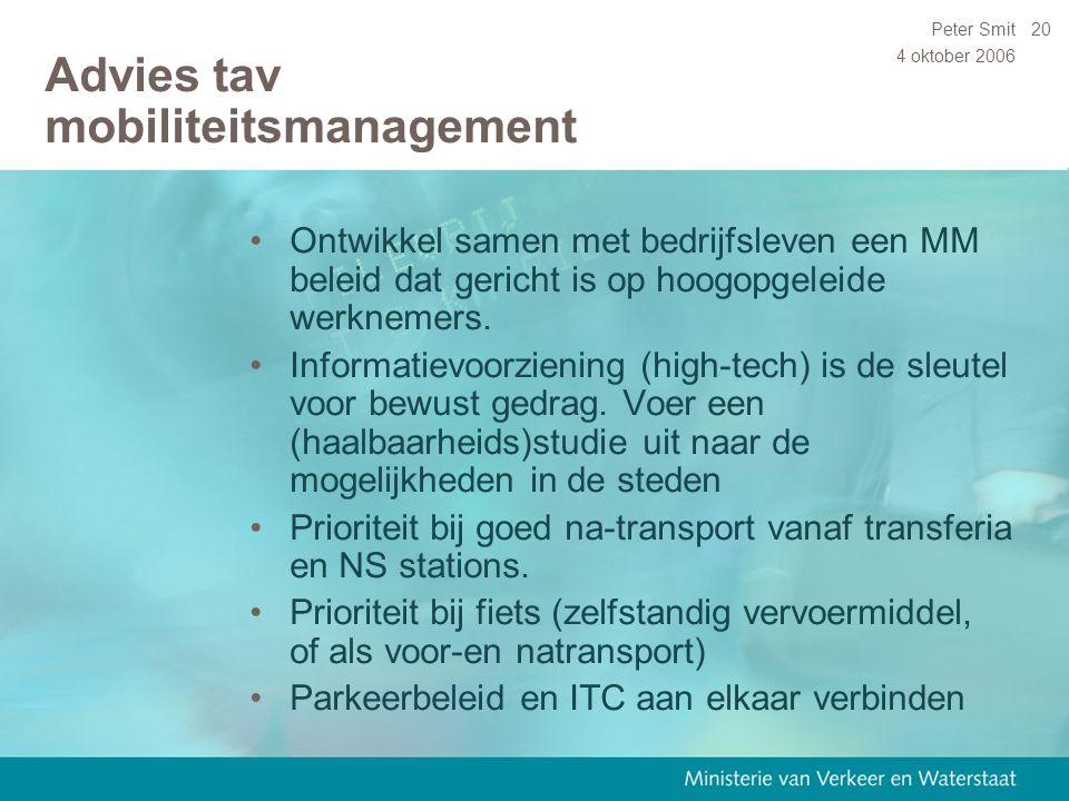 4 oktober 2006 Peter Smit20 Advies tav mobiliteitsmanagement Ontwikkel samen met bedrijfsleven een MM beleid dat gericht is op hoogopgeleide werknemer