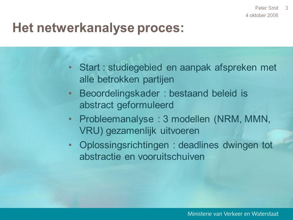 4 oktober 2006 Peter Smit3 Het netwerkanalyse proces: Start : studiegebied en aanpak afspreken met alle betrokken partijen Beoordelingskader : bestaan
