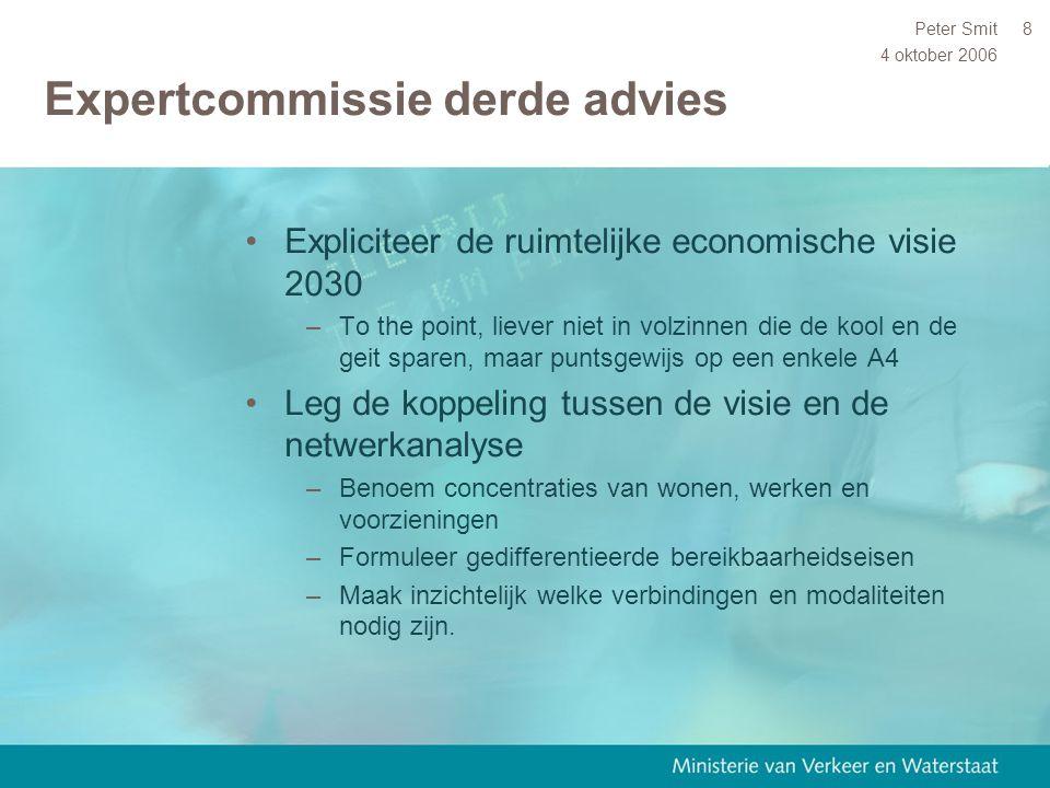 4 oktober 2006 Peter Smit9 Eerste concept Ontwikkelingsvisie NV Utrecht 2015-2030 (31-10-05) 1 2 4 3 5 6 A2-werkzone A-opties (bestaande woonmilieus) ▪ (Binnen)stedelijke (top)milieus 6.000 woningen ▪ Landelijke (top)milieus 6.000 woningen ▪ Aan regionale infra (binnenstedelijk) 13.000 woningen ▪ Voltooiing grote uitleglocaties 7.000 woningen B-opties (nieuwe uitlegwoonlocaties)  Ouderijn zone 2.000 – 18.000 woningen  Krommerijn zone 1.000 – 5.000 woningen  Eemzone /Flevoland 3.000 – 20.000 woningen  Lekzone 1.000 – 20.000 woningen  A1/A28 zone 2.000 – 15.000 woningen  Utrecht-noordzone > 100 – 5.000 woningen
