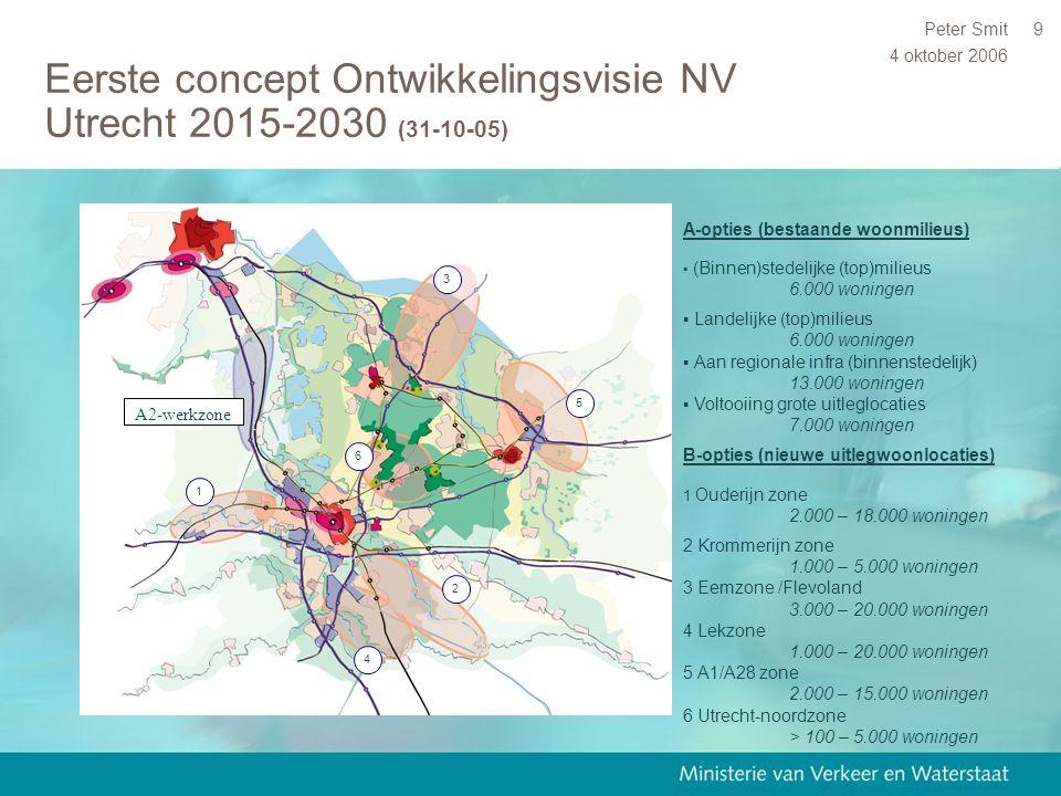4 oktober 2006 Peter Smit9 Eerste concept Ontwikkelingsvisie NV Utrecht 2015-2030 (31-10-05) 1 2 4 3 5 6 A2-werkzone A-opties (bestaande woonmilieus)