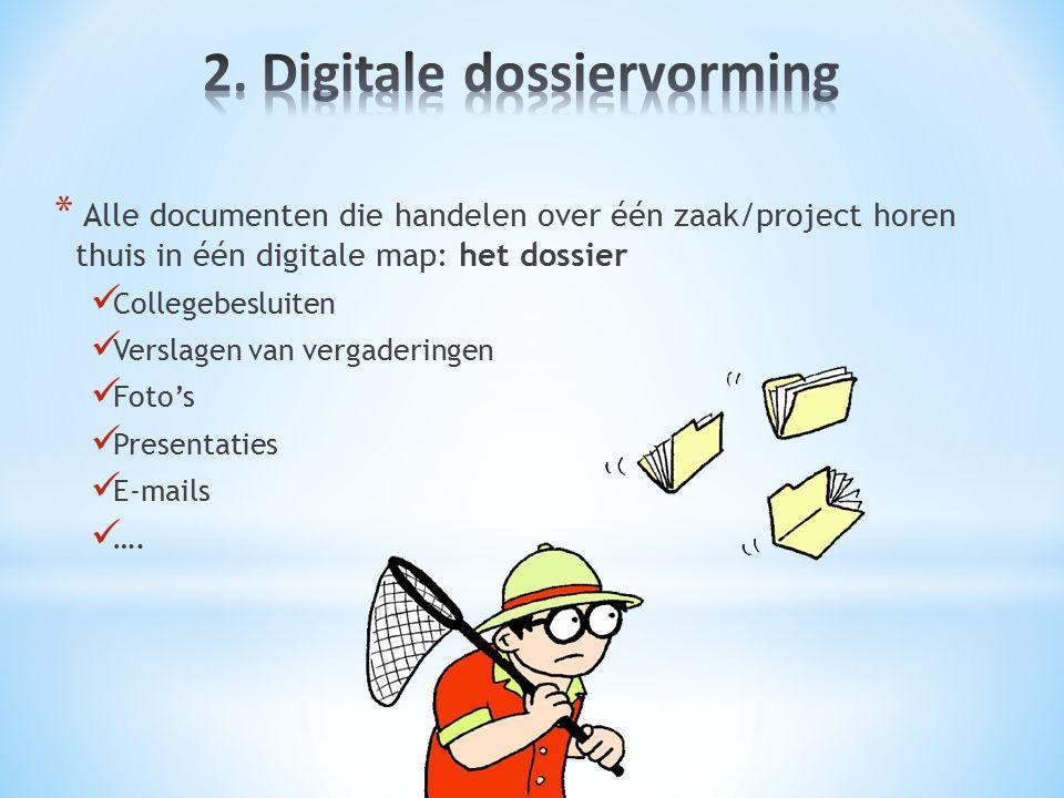 * Alle documenten die handelen over één zaak/project horen thuis in één digitale map: het dossier Collegebesluiten Verslagen van vergaderingen Foto's