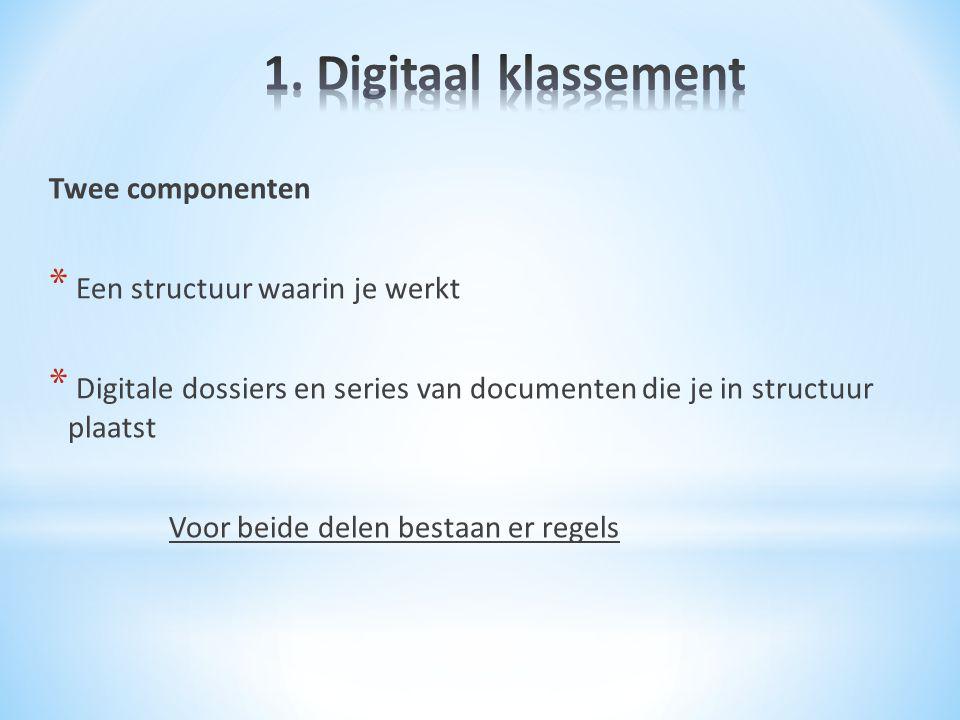 Twee componenten * Een structuur waarin je werkt * Digitale dossiers en series van documenten die je in structuur plaatst Voor beide delen bestaan er