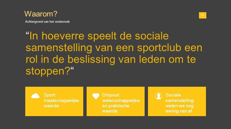 01 In hoeverre speelt de sociale samenstelling van een sportclub een rol in de beslissing van leden om te stoppen? 01 Waarom.