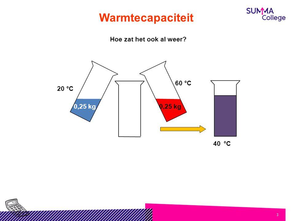 4 Warmtecapaciteit Maar nu de praktijk 0,25 kg 60 °C 20 °C 0,25 kg 40,9 °C 0,25 kg 20 °C 60 °C 0,25 kg 39,1 °C Hoe kan dat.