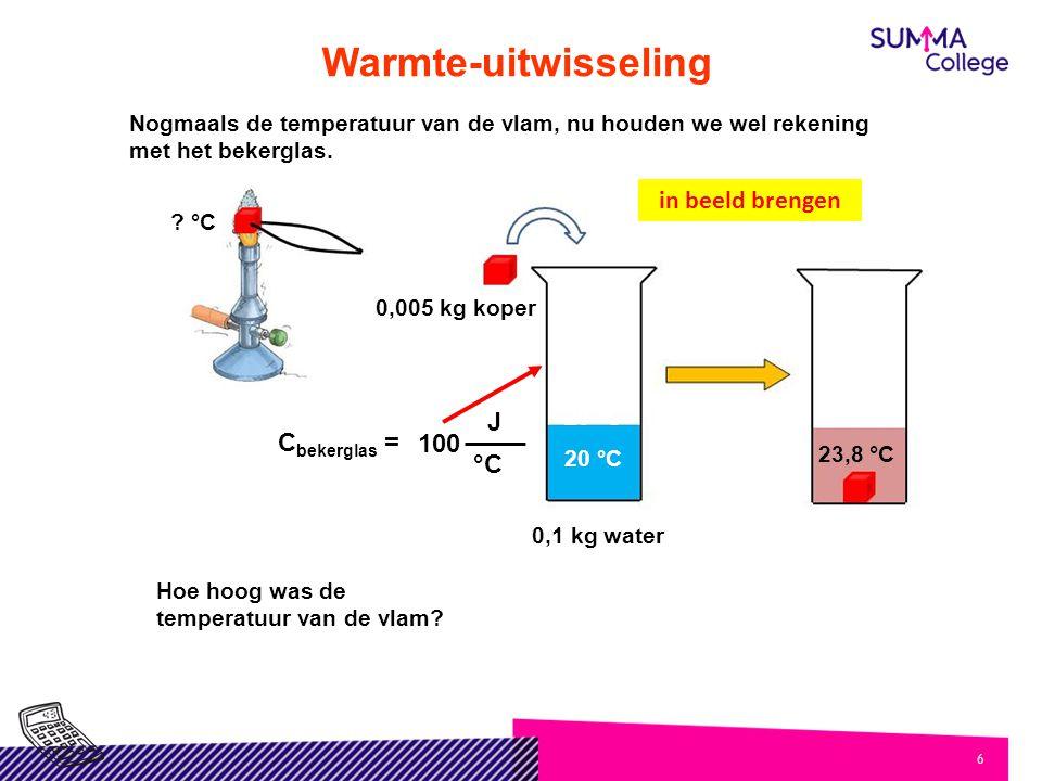 6 Warmte-uitwisseling Hoe hoog was de temperatuur van de vlam? 20 °C 23,8 °C 20 °C ? °C in beeld brengen 0,1 kg water 0,005 kg koper Nogmaals de tempe