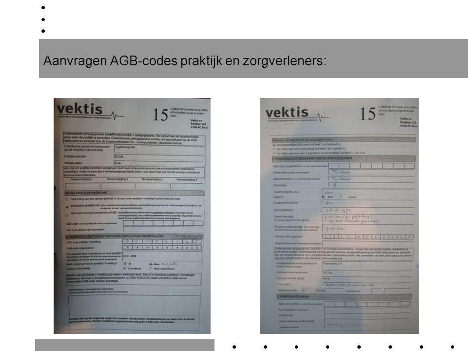 Aanvragen AGB-codes praktijk en zorgverleners: