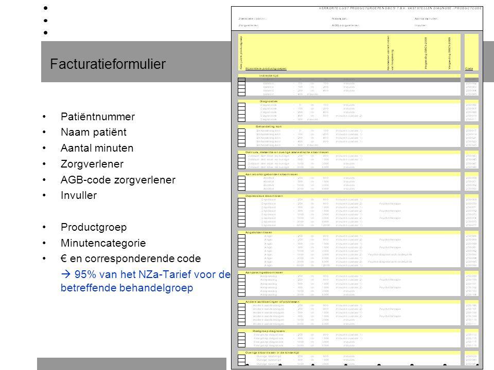 Facturatieformulier Patiëntnummer Naam patiënt Aantal minuten Zorgverlener AGB-code zorgverlener Invuller Productgroep Minutencategorie € en correspon