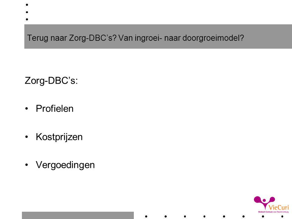 Terug naar Zorg-DBC's? Van ingroei- naar doorgroeimodel? Zorg-DBC's: Profielen Kostprijzen Vergoedingen