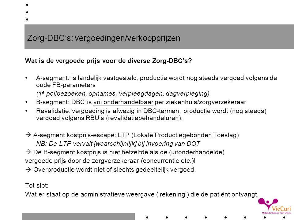 Zorg-DBC's: vergoedingen/verkoopprijzen Wat is de vergoede prijs voor de diverse Zorg-DBC's? A-segment: is landelijk vastgesteld, productie wordt nog