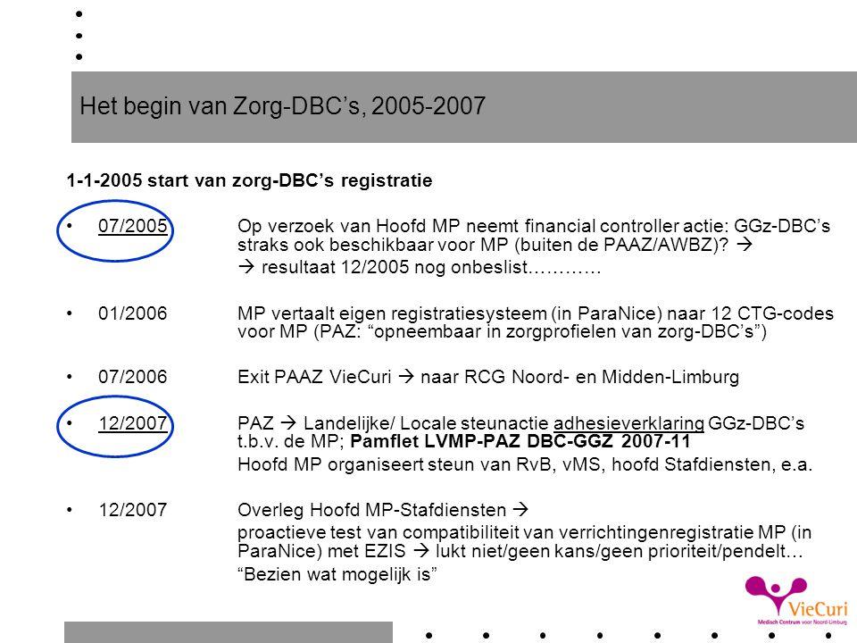 Het begin van Zorg-DBC's, 2005-2007 1-1-2005 start van zorg-DBC's registratie 07/2005Op verzoek van Hoofd MP neemt financial controller actie: GGz-DBC