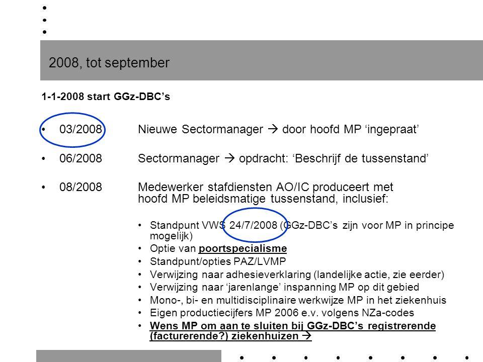 2008, tot september 1-1-2008 start GGz-DBC's 03/2008Nieuwe Sectormanager  door hoofd MP 'ingepraat' 06/2008Sectormanager  opdracht: 'Beschrijf de tu