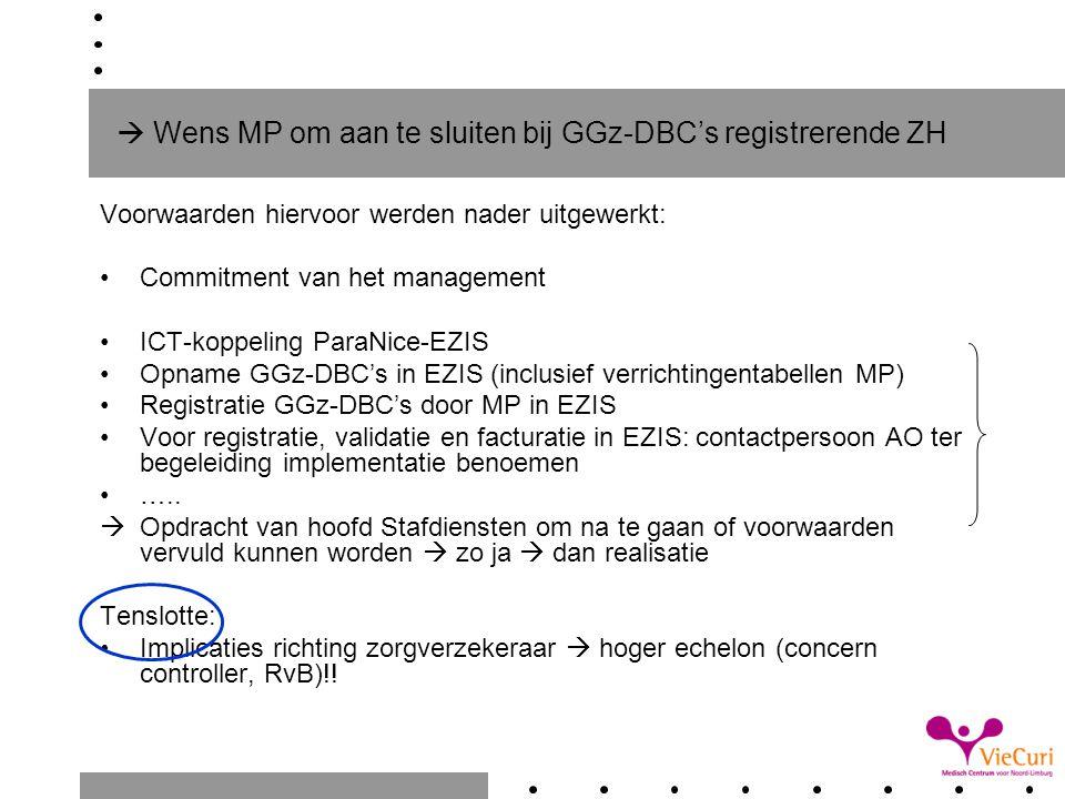  Wens MP om aan te sluiten bij GGz-DBC's registrerende ZH Voorwaarden hiervoor werden nader uitgewerkt: Commitment van het management ICT-koppeling P
