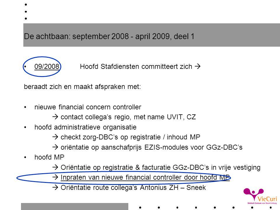 De achtbaan: september 2008 - april 2009, deel 1 09/2008Hoofd Stafdiensten committeert zich  beraadt zich en maakt afspraken met: nieuwe financial co