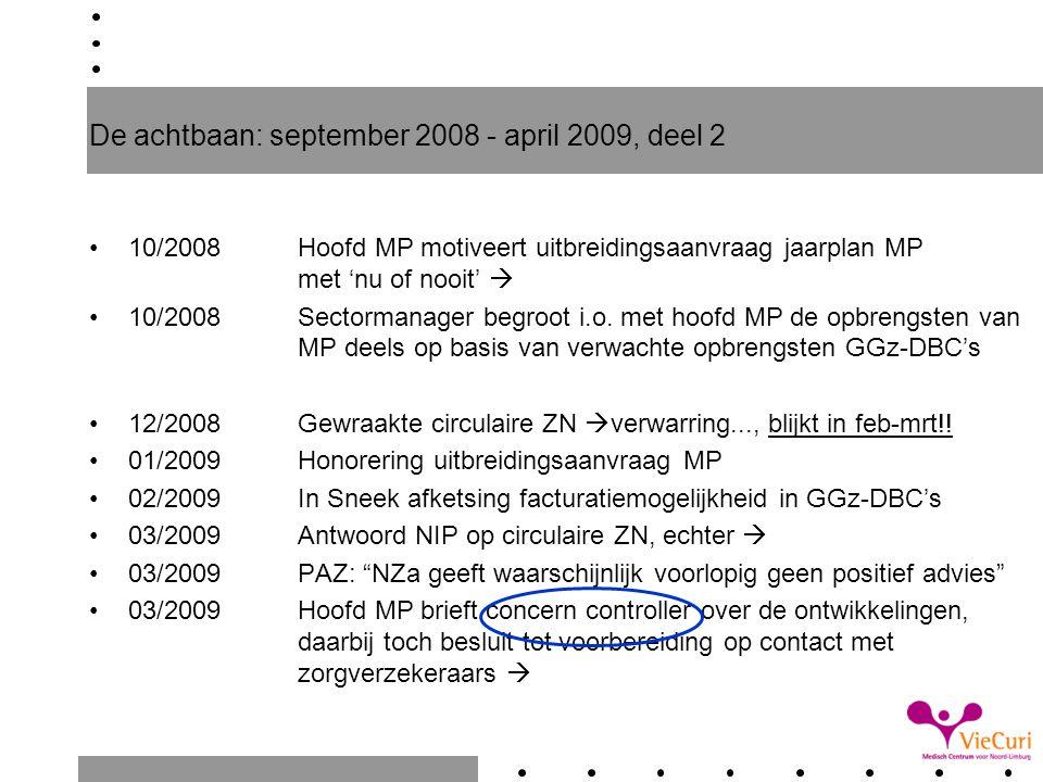 De achtbaan: september 2008 - april 2009, deel 2 10/2008Hoofd MP motiveert uitbreidingsaanvraag jaarplan MP met 'nu of nooit'  10/2008Sectormanager b
