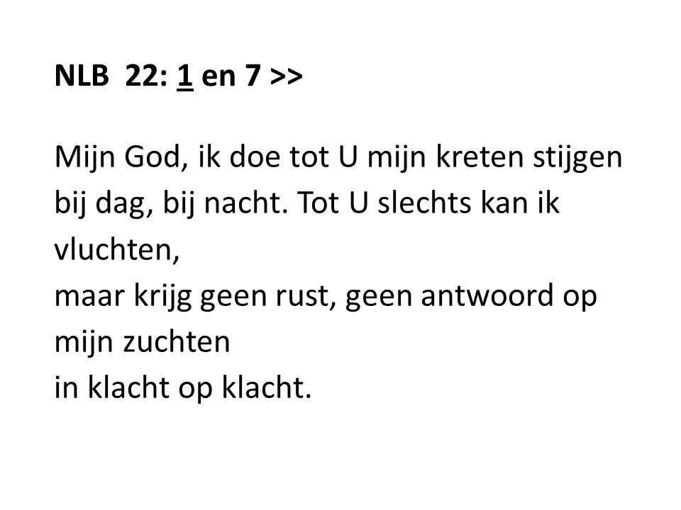 NLB 22: 1 en 7 >> Mijn God, ik doe tot U mijn kreten stijgen bij dag, bij nacht. Tot U slechts kan ik vluchten, maar krijg geen rust, geen antwoord op