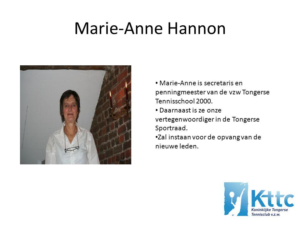 Marie-Anne Hannon Marie-Anne is secretaris en penningmeester van de vzw Tongerse Tennisschool 2000.