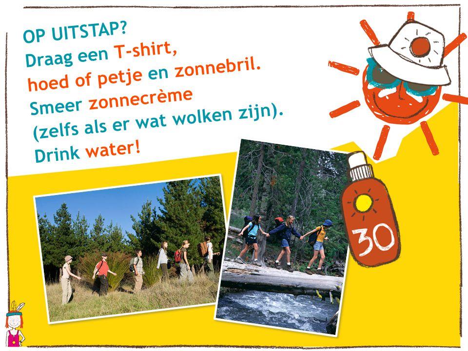 OP UITSTAP? Draag een T-shirt, hoed of petje en zonnebril. Smeer zonnecrème (zelfs als er wat wolken zijn). Drink water!