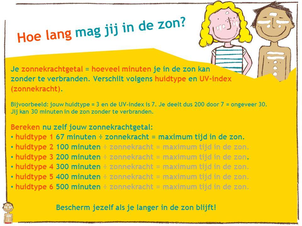 Hoe lang mag jij in de zon? Je zonnekrachtgetal = hoeveel minuten je in de zon kan zonder te verbranden. Verschilt volgens huidtype en UV-index (zonne