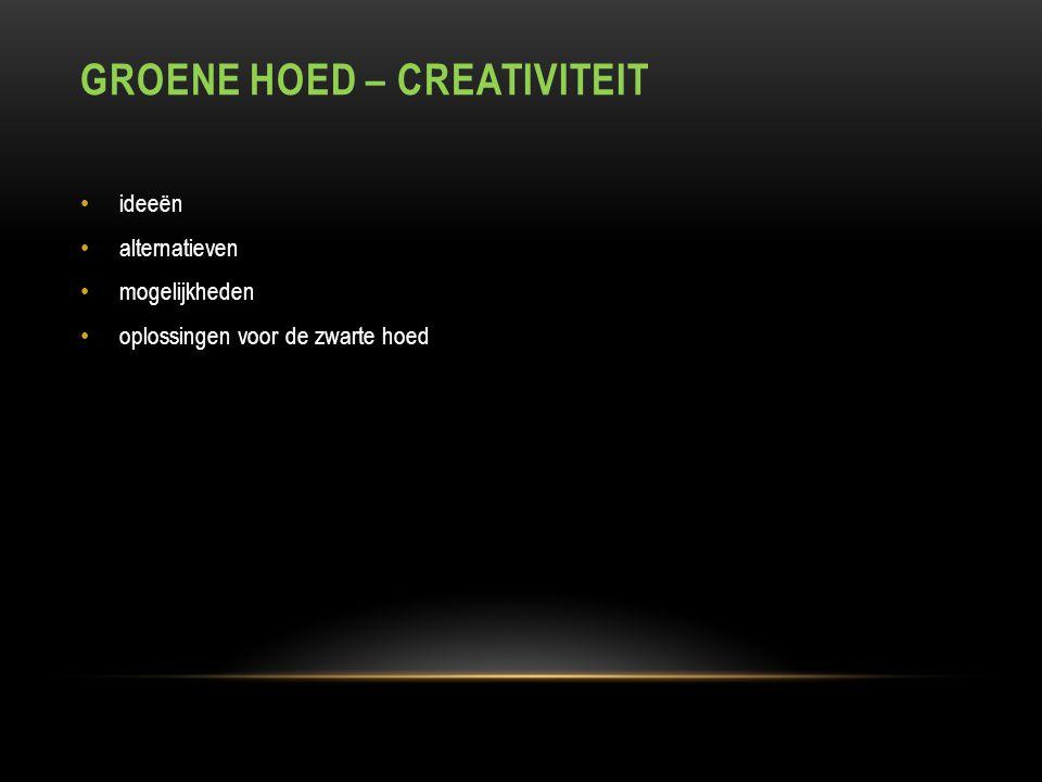 GROENE HOED – CREATIVITEIT ideeën alternatieven mogelijkheden oplossingen voor de zwarte hoed