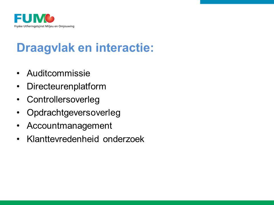 Draagvlak en interactie: Auditcommissie Directeurenplatform Controllersoverleg Opdrachtgeversoverleg Accountmanagement Klanttevredenheid onderzoek