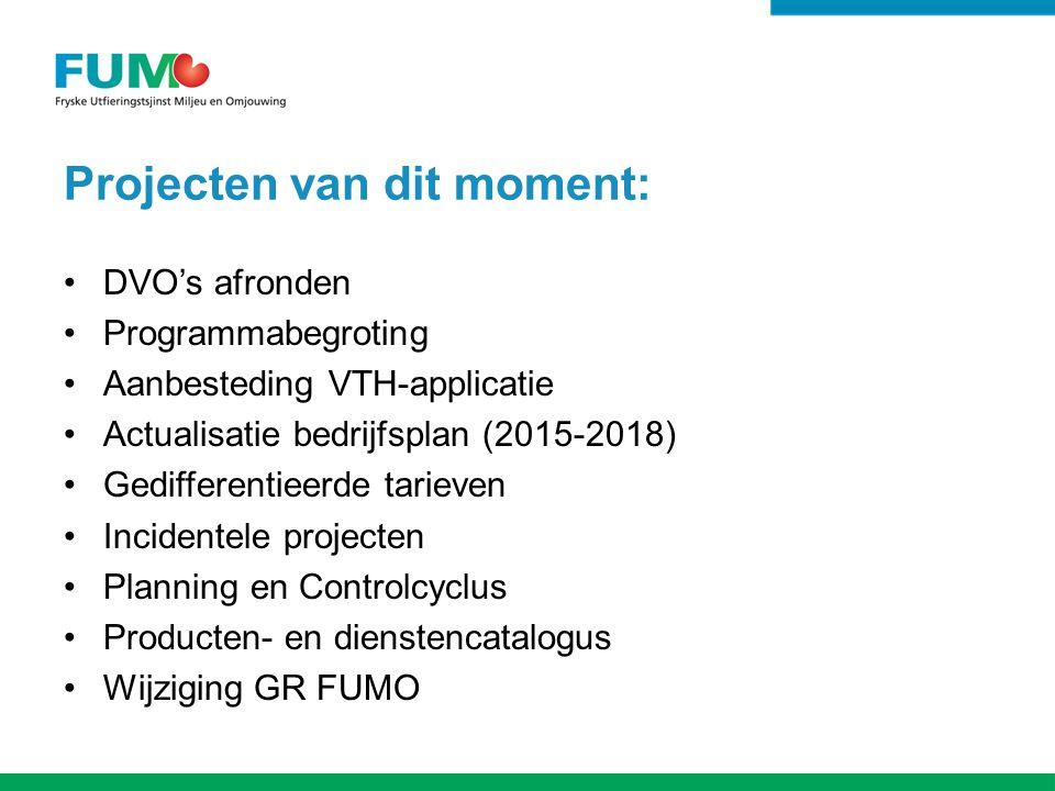 Projecten van dit moment: DVO's afronden Programmabegroting Aanbesteding VTH-applicatie Actualisatie bedrijfsplan (2015-2018) Gedifferentieerde tarieven Incidentele projecten Planning en Controlcyclus Producten- en dienstencatalogus Wijziging GR FUMO
