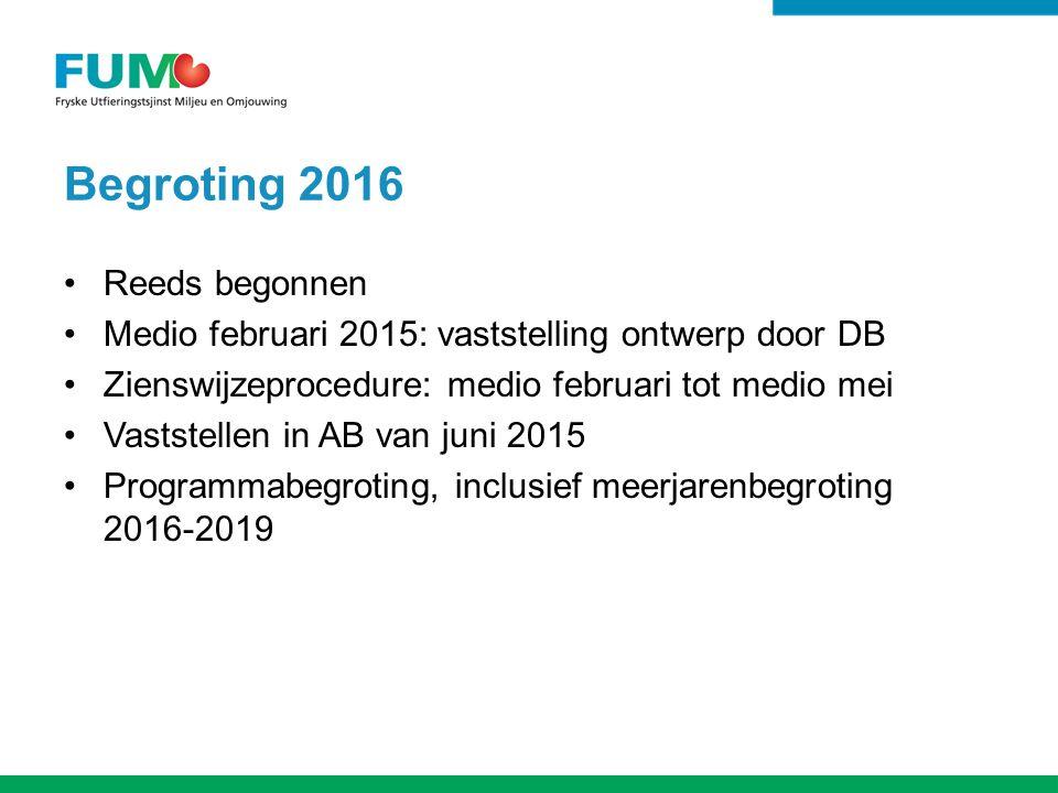 Begroting 2016 Reeds begonnen Medio februari 2015: vaststelling ontwerp door DB Zienswijzeprocedure: medio februari tot medio mei Vaststellen in AB van juni 2015 Programmabegroting, inclusief meerjarenbegroting 2016-2019