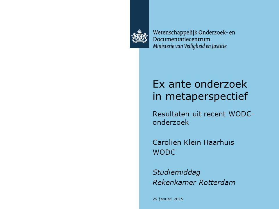 Ex ante onderzoek in metaperspectief Resultaten uit recent WODC- onderzoek Carolien Klein Haarhuis WODC Studiemiddag Rekenkamer Rotterdam 29 januari 2