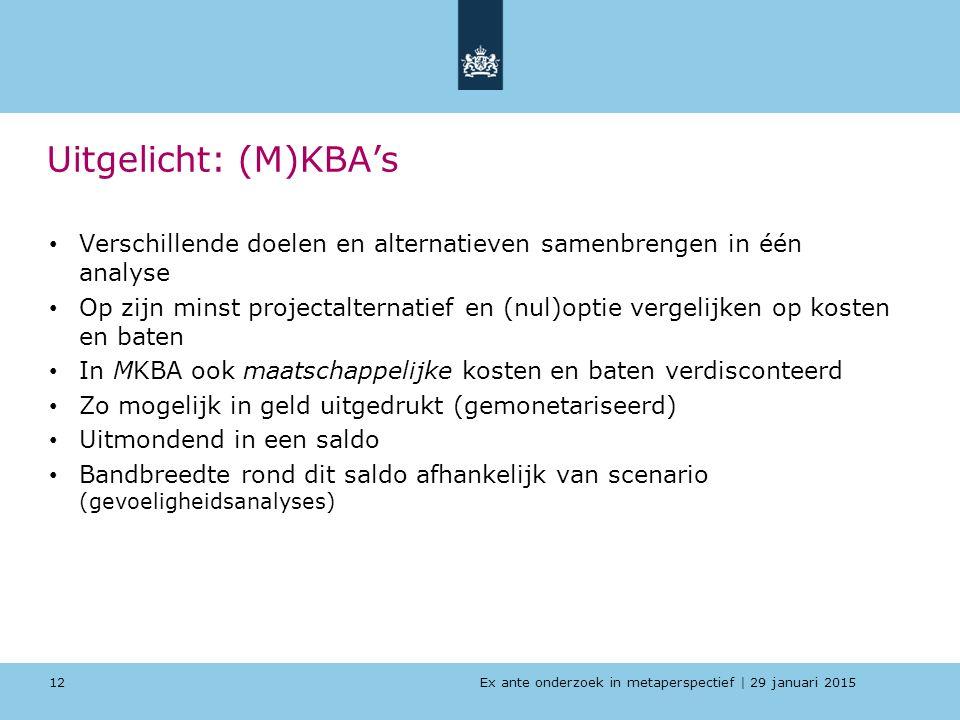 Ex ante onderzoek in metaperspectief   29 januari 2015 Uitgelicht: (M)KBA's Verschillende doelen en alternatieven samenbrengen in één analyse Op zijn